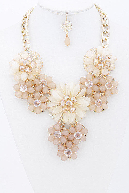 Elegant Ivory Flower Statement Necklace Set