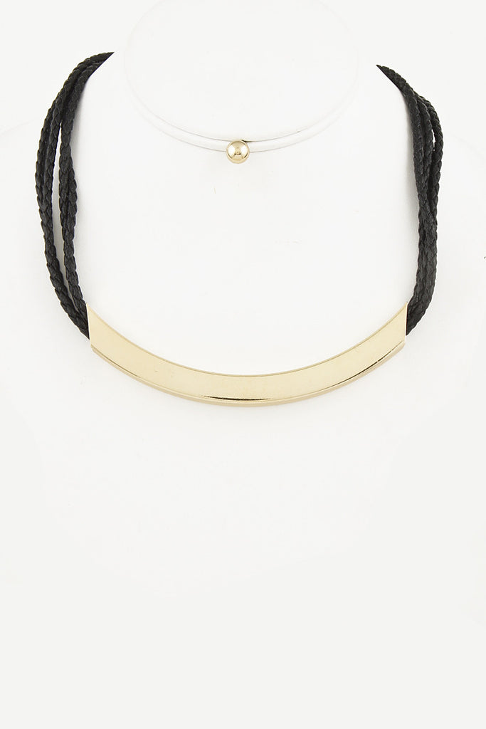 Black Neon Strap Gold Necklace