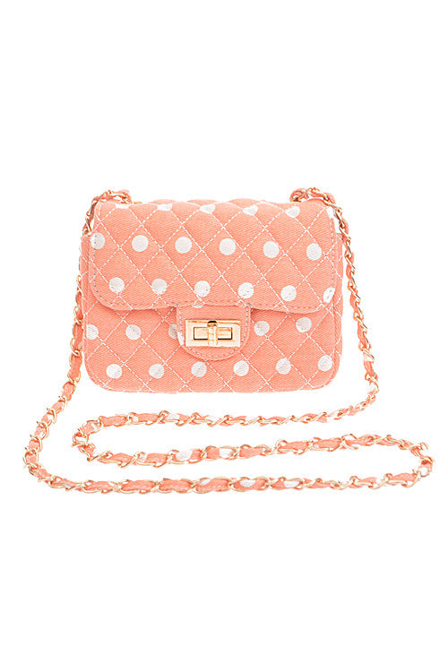 Fashion Polka Dot Quilted Pink Clutch