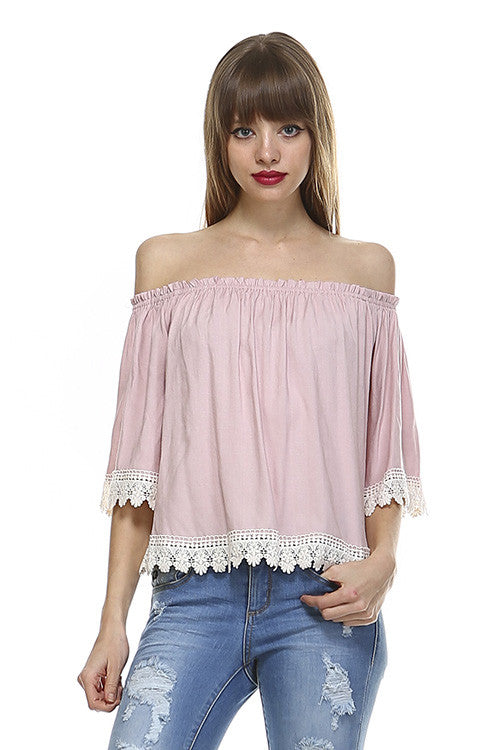 Off Shoulder Crochet Dusty Pink