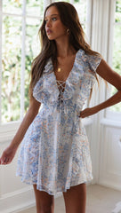 Fashion Summer White Ruffle Multi-Color Floral Print V-Neck Tie-Up Dress with Band Sleeve Detailed