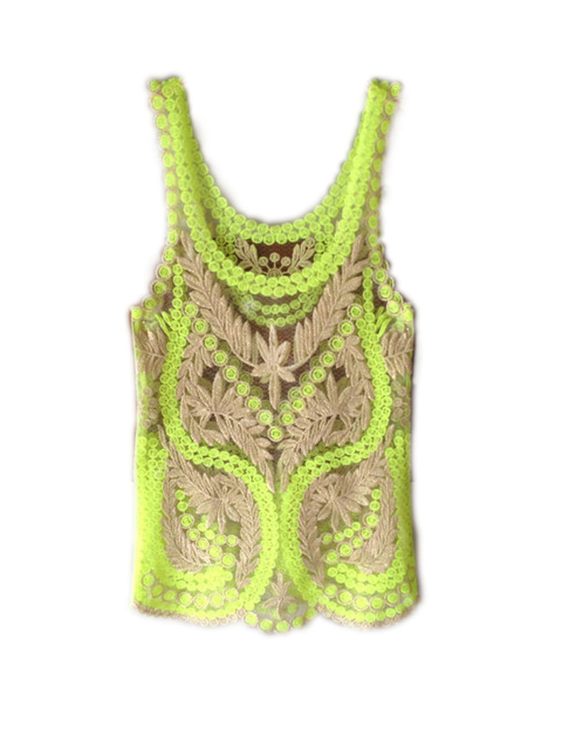 Yellow Green Sheer Floral Crochet Tank