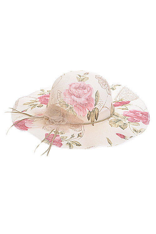 Summer Beige Flower Print Floppy Hat