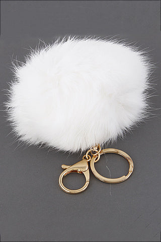Small White Pom Pom Gold Key Chain