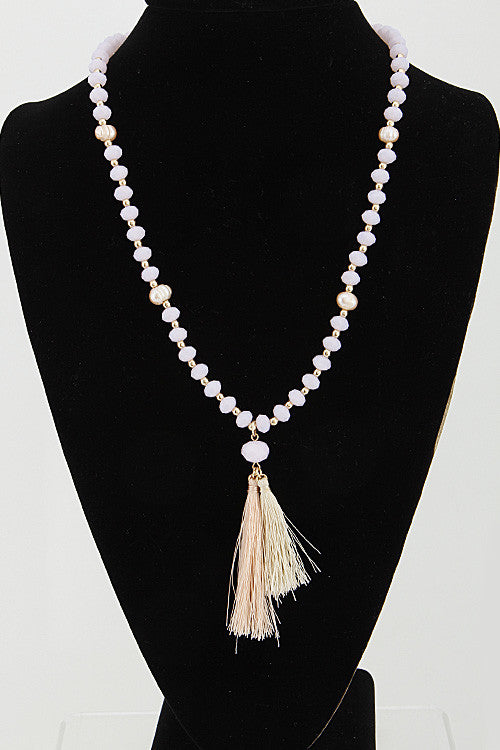 Fashion Gold Ivory Bead Long Necklace