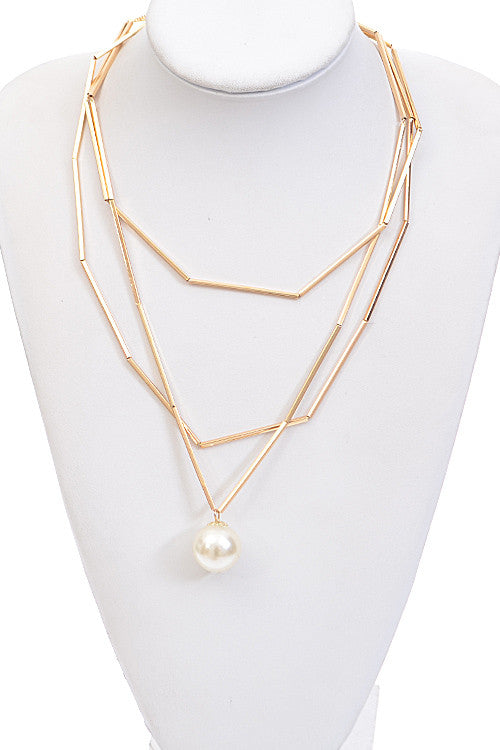 Bar Linked Pearl Pendant Necklace