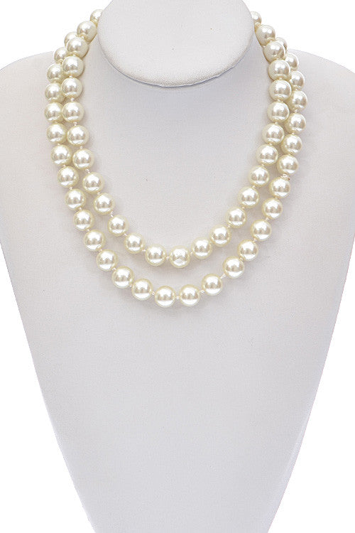 Elegant Double Pearl Beaded Necklace