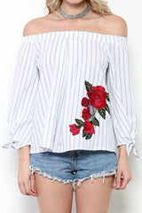 Summer White Off Shoulder Marine Top With Embroidery Rose