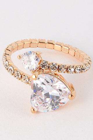 Elegant Heart Crystal Rose Gold Ring