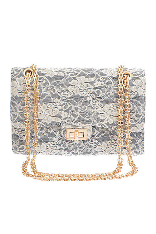 Elegant Flower Lace Quilted Grey Clutch