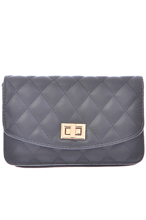 Black Clutch with Quilted Golden Detail