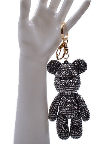 Mini Bear Black Crystal Key Chain