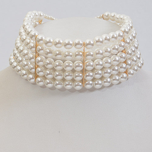Elegant Pearl Choker Gold Necklace