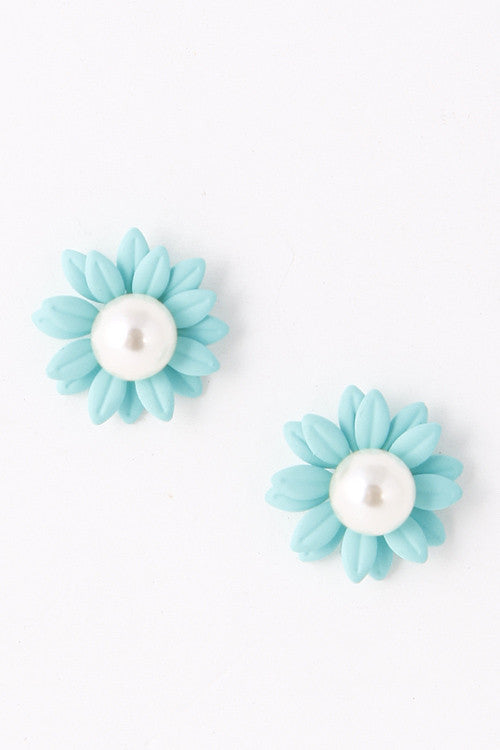 Summer Pearl Bead Blue Flower Stud Earring
