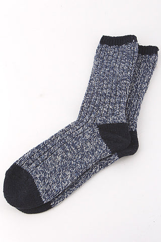 Casual Blue Two Tone Knitted Mid Socks