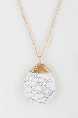 Elegant White Tear Drop Stone Gold Necklace