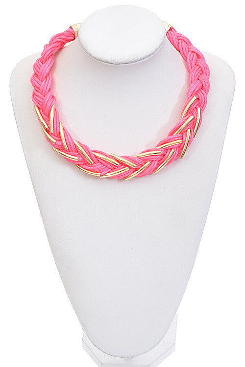 Golden Bar Neon Pink Detailed Tied Necklace