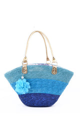 Blue Straw Tote Bag Summer