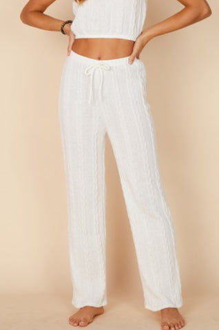 Fashion White Crochet Joggers Pants