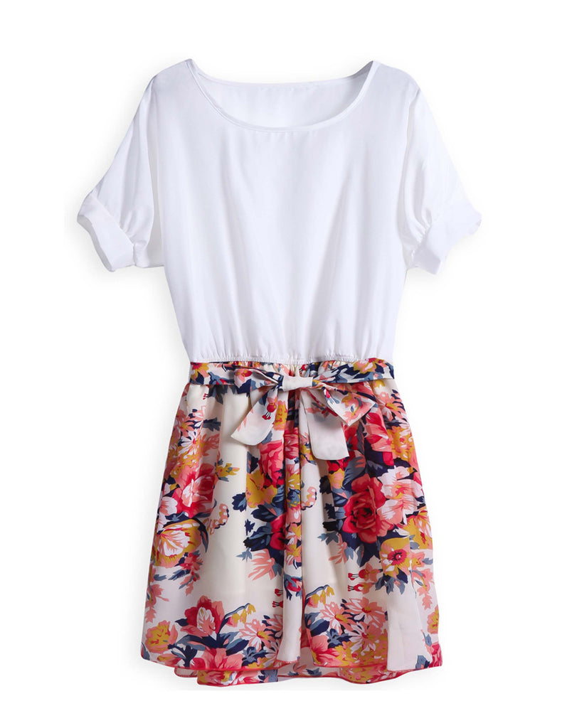 White Short Sleeve Contrast Floral Dress