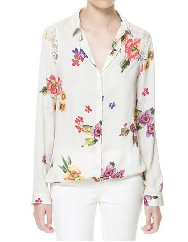 Floral Blouse With Shoulder Lace Detail