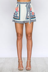 Elegant High Waisted Tie-Up Multi-Color Floral Print White Shorts