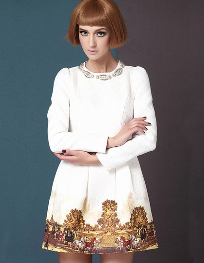 White Vintage Dress With Gold Beading