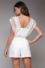 Elegant White Lace Romper with Band Sleeve Detailed