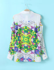 Multicolor Blouse with Cut out Shoulder