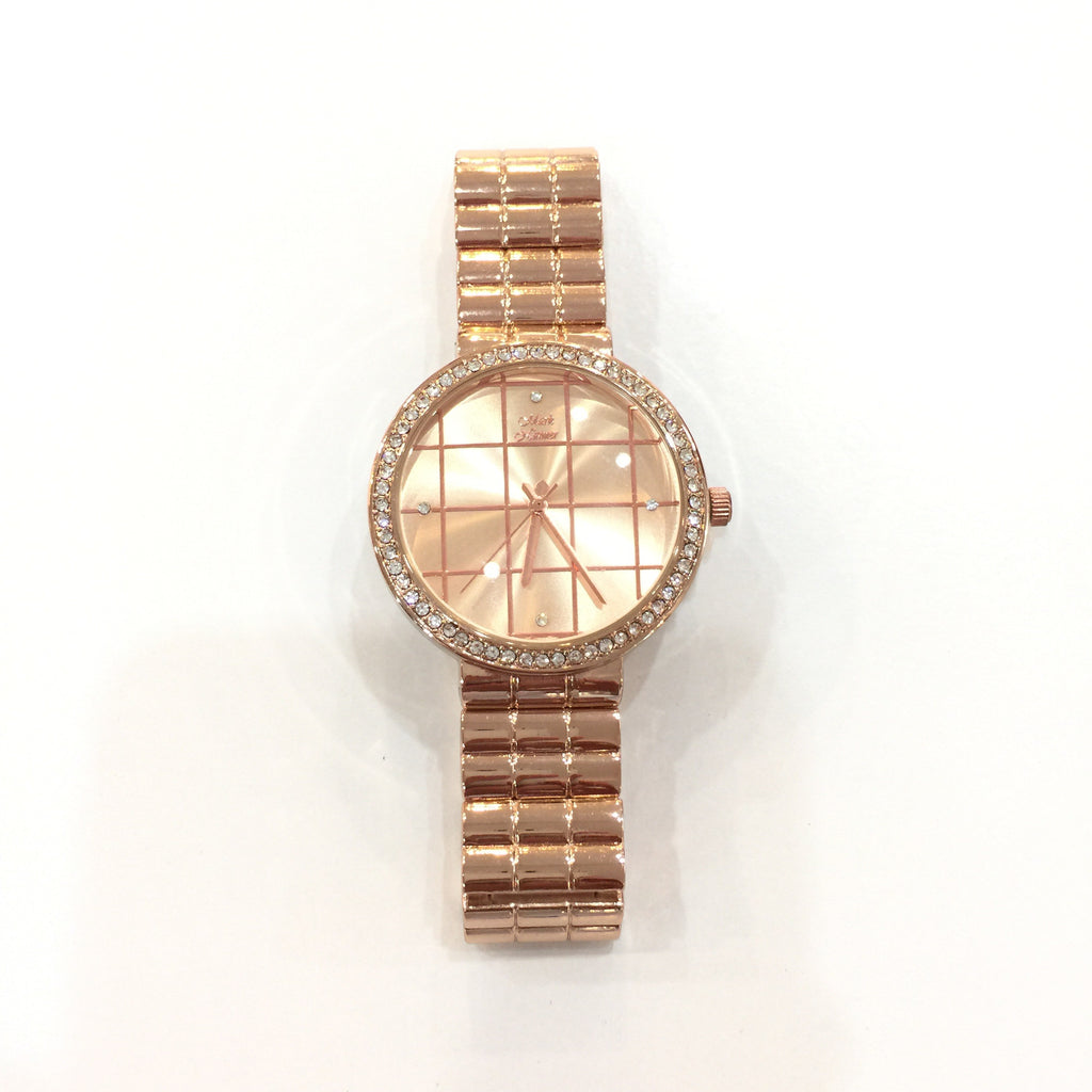 Elegant Rose Gold Rhinestone Watch