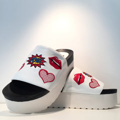 White Comic Embroidery Sandal Platform