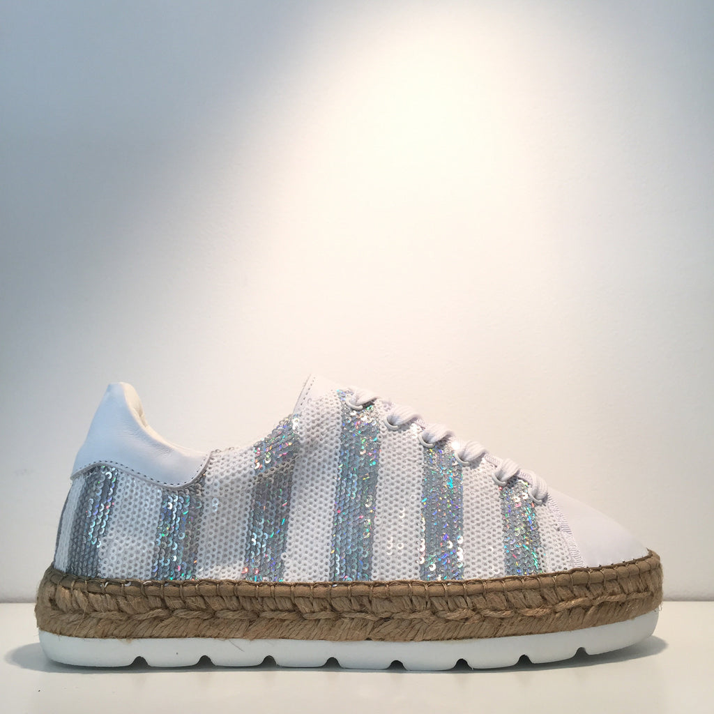 Fashion White Sequence White Leather Espadrille