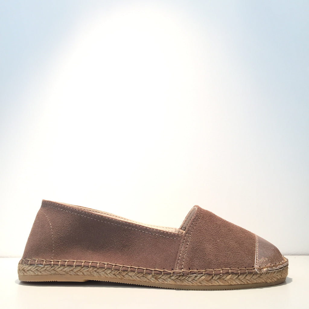 Fashion Taupe Suede Rose Metal Slip On Espadrille Sneaker