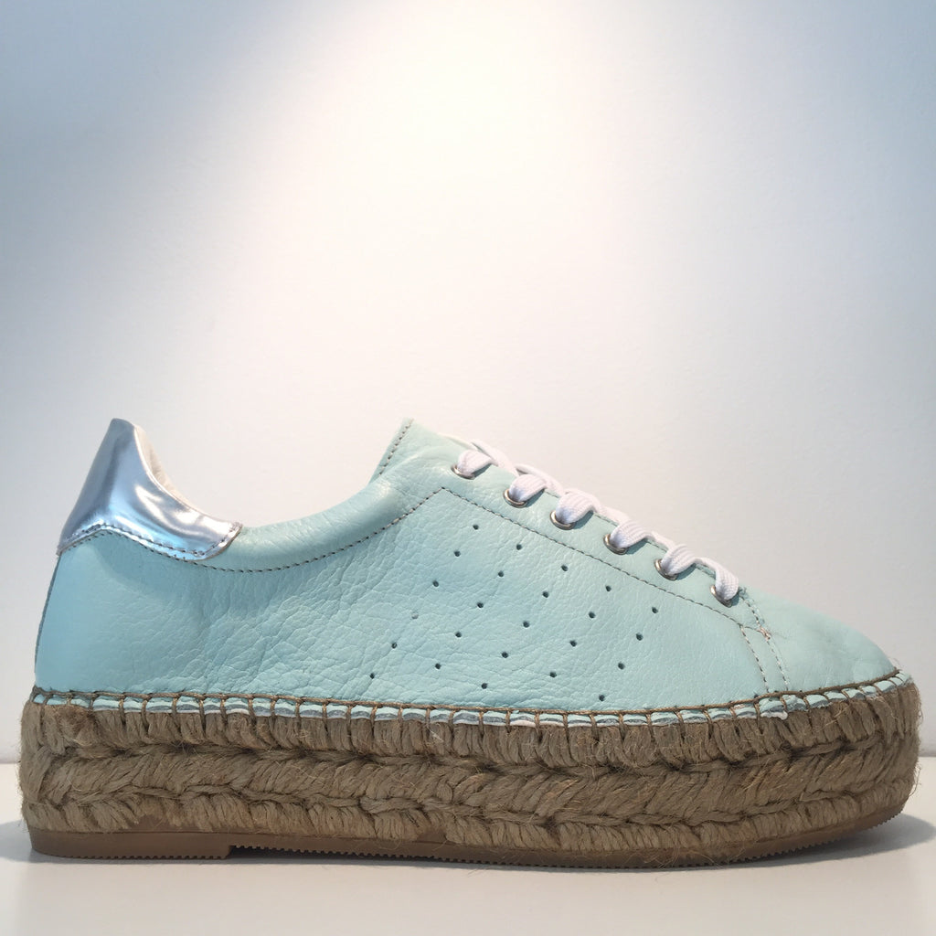 Fashion Light Blue Soft Leather Silver High Gloss Espadrille Sneaker