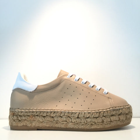 Fashion Beige Leather White Leather Espadrille Sneaker
