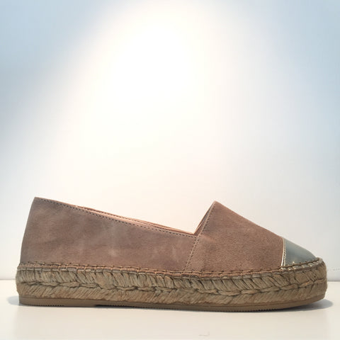 Elegant Taupe Suede Gold High Gloss Espadrille Sneaker