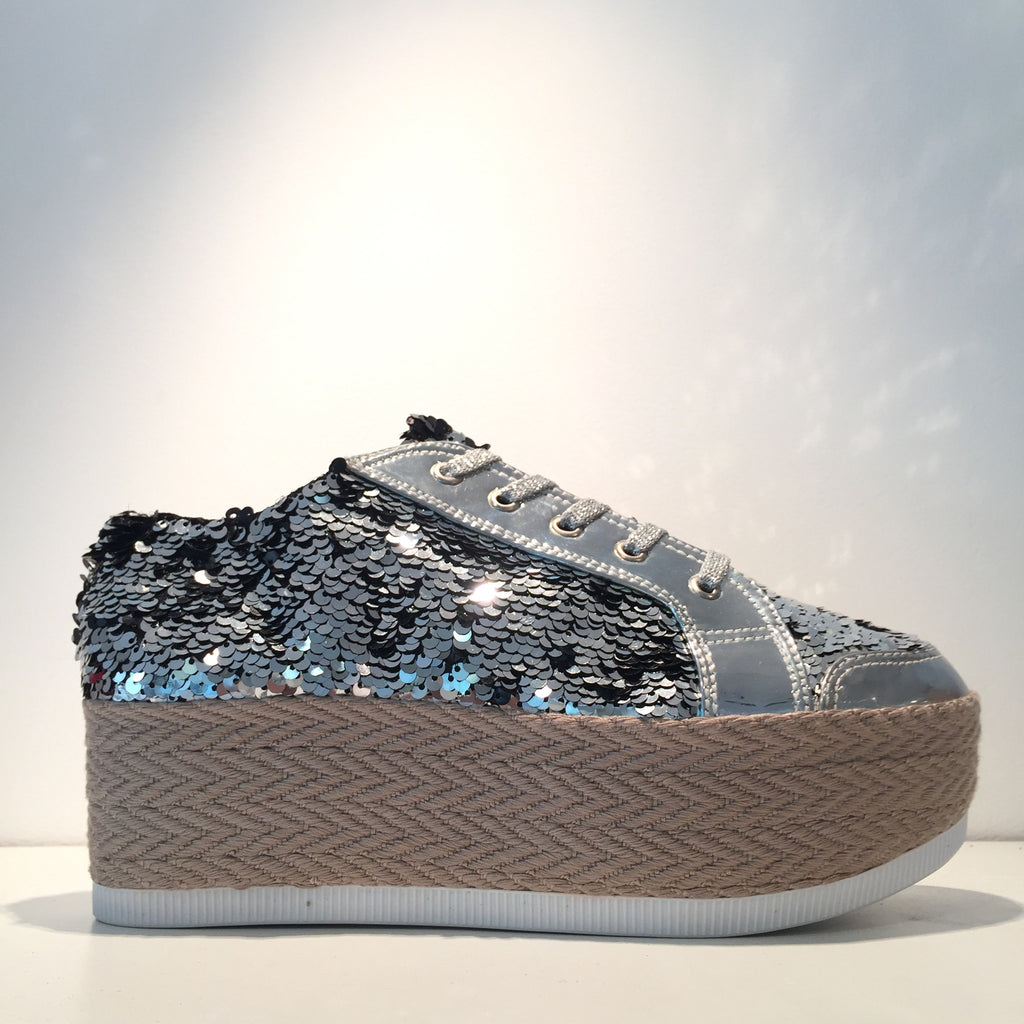 Silver Sequence Fashion Sneaker Platform