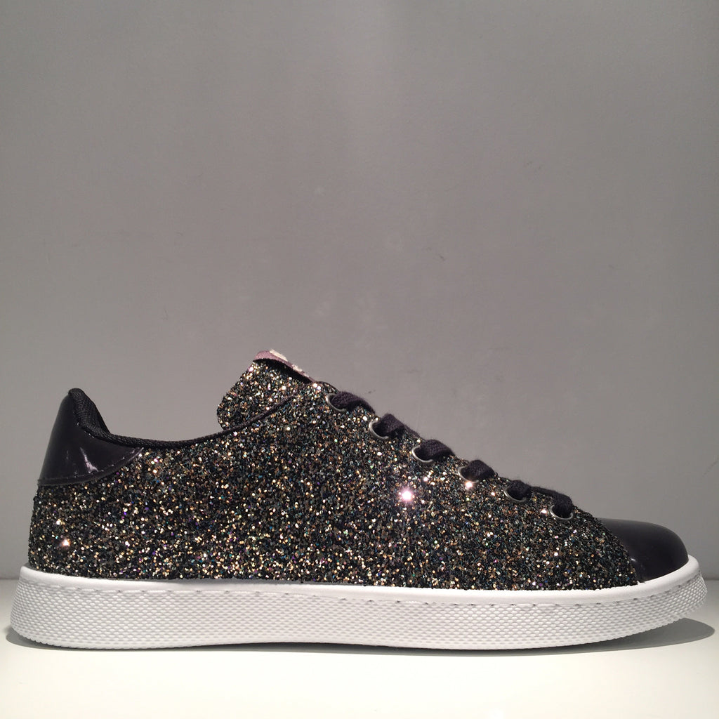 Fashion Black Glitter Black Sneaker