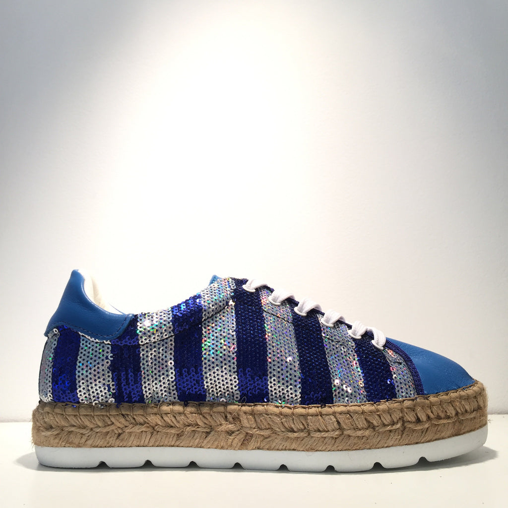 Fashion Sequence Blue Silver Blue Leather Espadrille