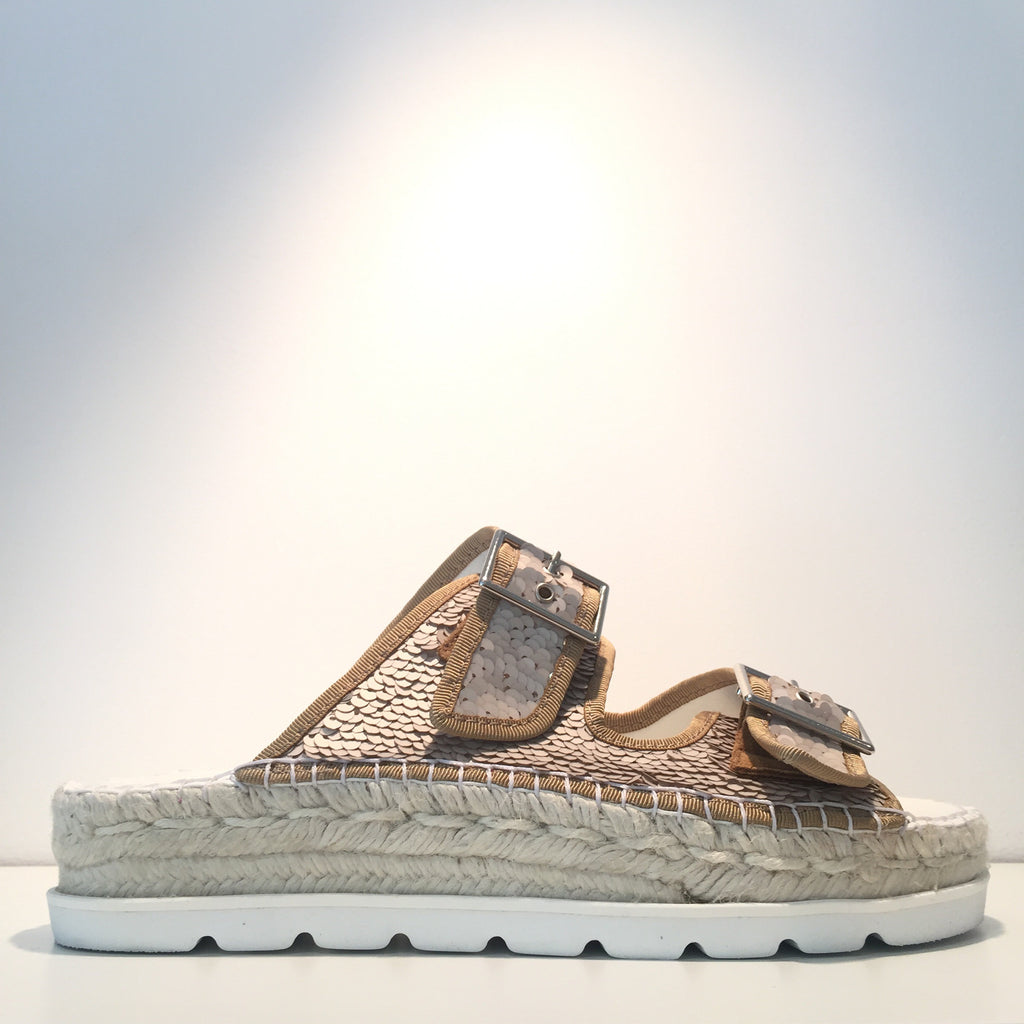 Fashion Beige Sequence Open Espadrille Sneaker