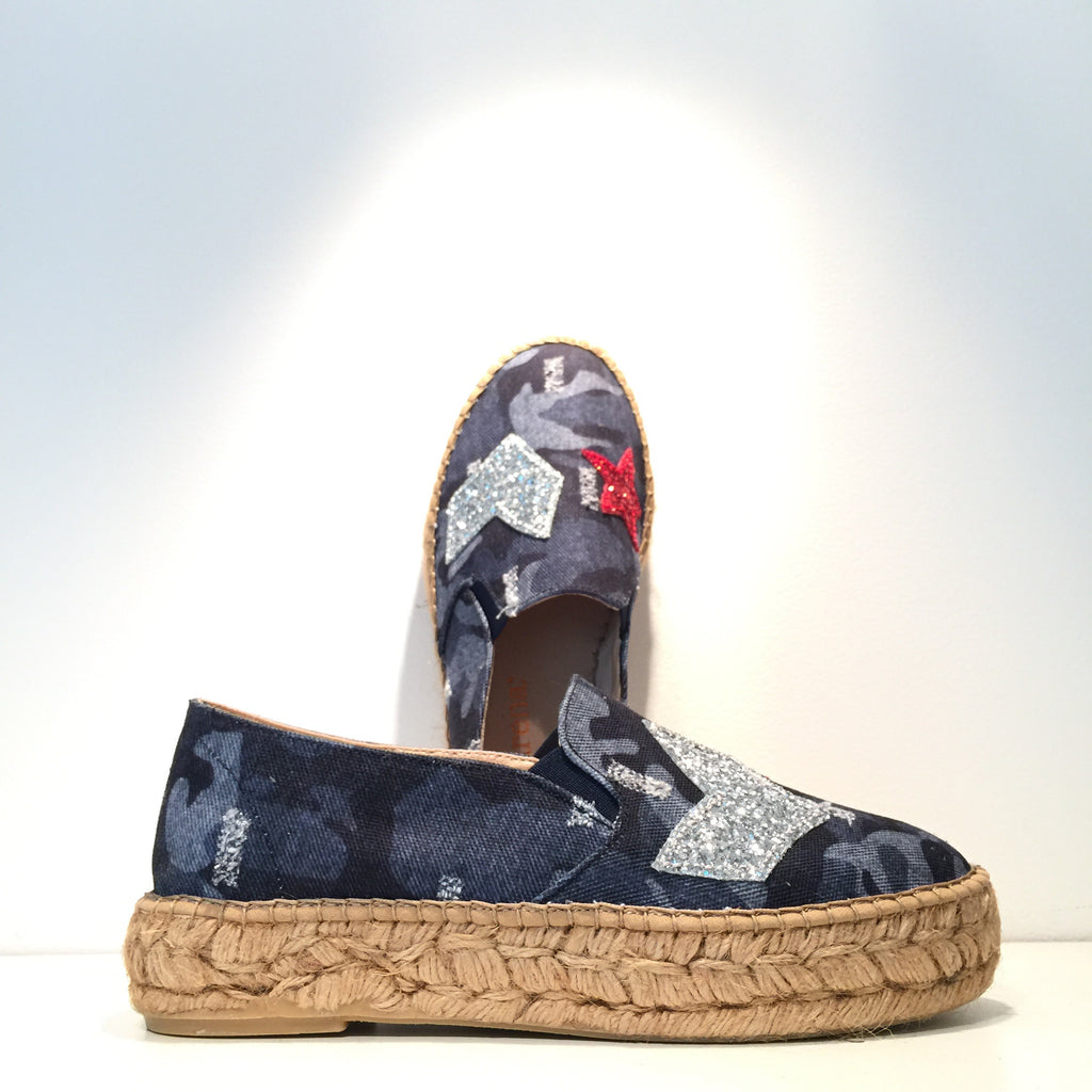Elegant Blue Army Patch Espadrille