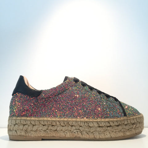 Fashion Green Glitter Black Leather Espadrille Sneaker