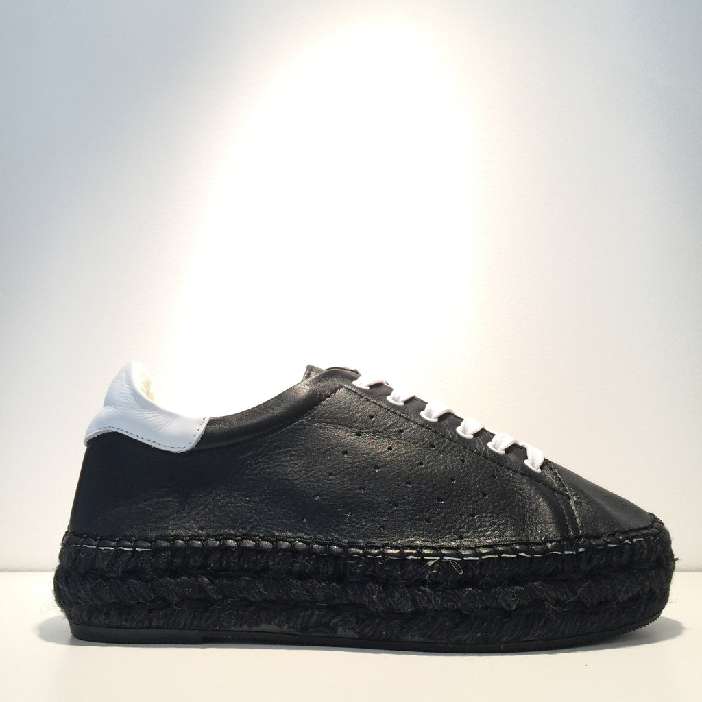 Fashion Black Leather White Leather All Black Espadrille Sneaker