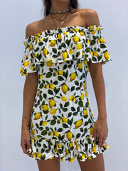 Elegant White Lemon Print Off Shoulder Tie-Up Ruffle Dress