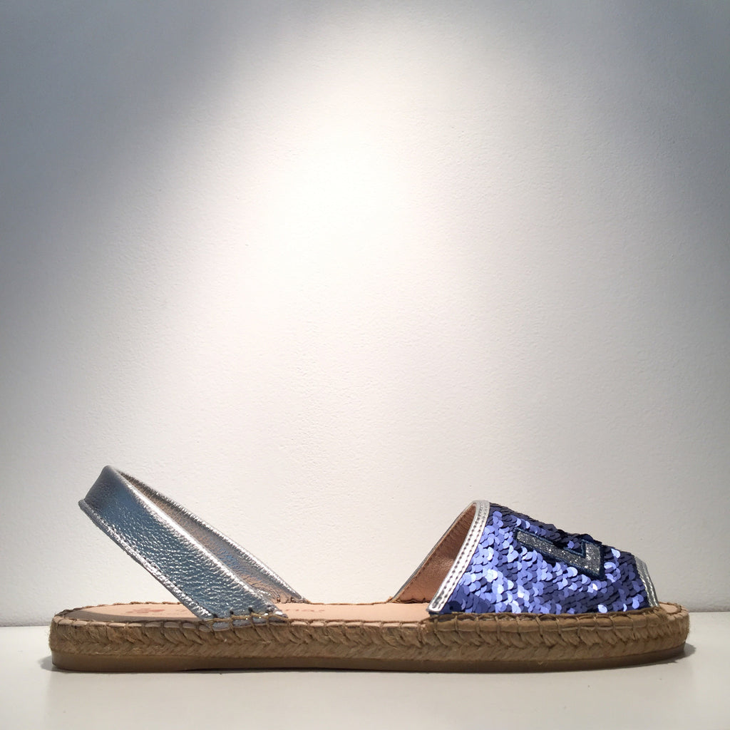 Elegant Sequence Blue Love Open Espadrille