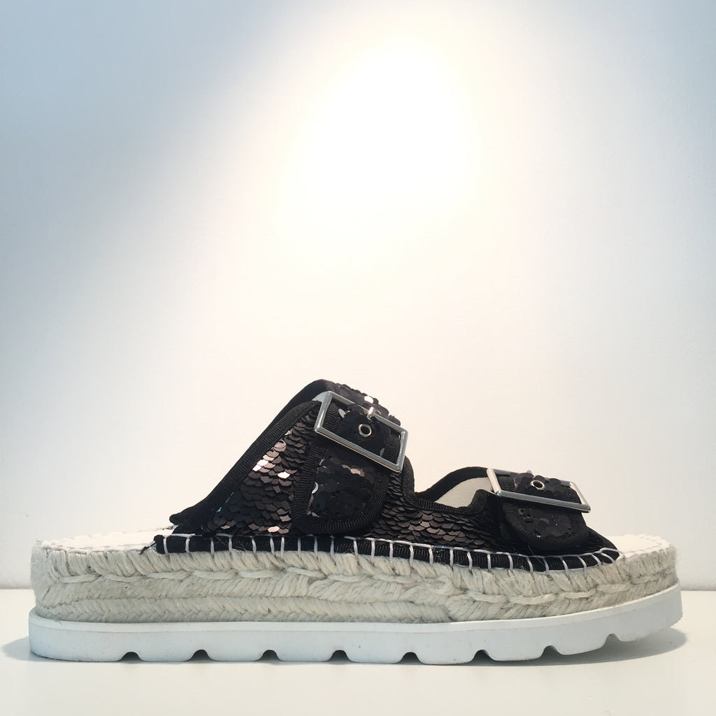 Fashion Black Sequence Open Espadrille Sneaker