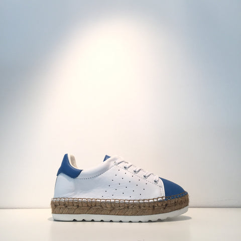 Kid's Fashion White Leather Blue Leather Espadrille Sneaker