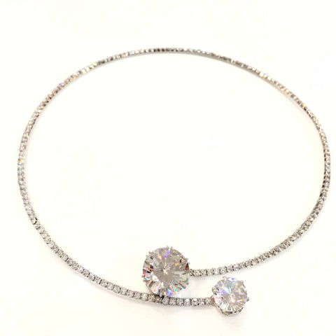 Elegant Crystal Silver Choker Necklace