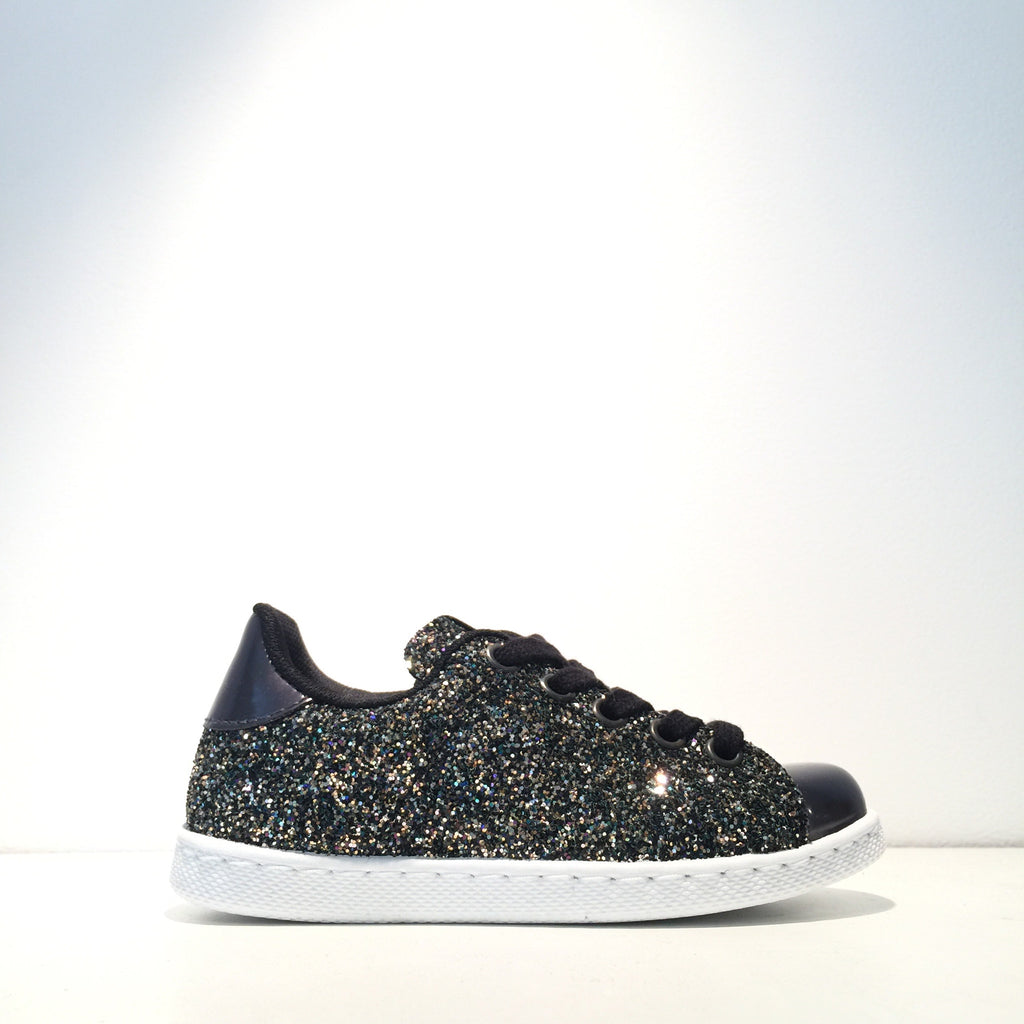 Kid's Fashion Black Glitter Black Sneaker