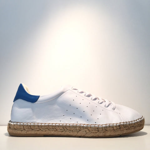 Men's Fashion White Leather Blue Leather Espadrille Sneaker